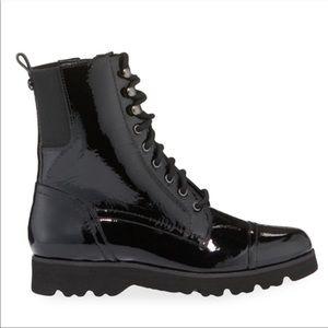 Donald J Pliner Patent Leather Combat Boots Black